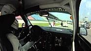 Porsche GT3 grid girl passes falls on a hood backwards