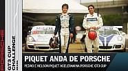 El campeón de F1, Nelson Piquet maneja en la Porsche GT3 Cup