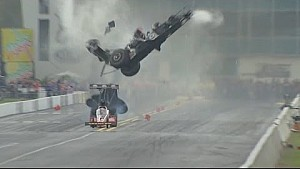 Larry Dixon walks away from a spectacular crash in Gainesville NHRA