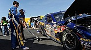 Elliott hits wall with flat tire while leading
