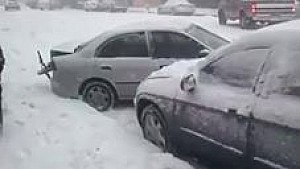 Icy road claims dozens of vehicles