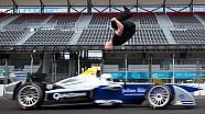Salto increíble: Damien Walters Backflip brinca un auto de Fórmula E