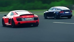 Audi RS7 vs Audi R8 V10 Plus Race Rennen Acceleration V8 Sound V10 Sound