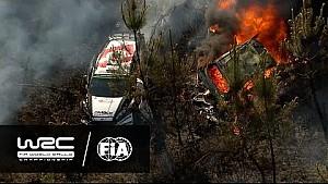 Portekiz Rallisinde Paddon'un alevler içinde kalan Hyundai'si