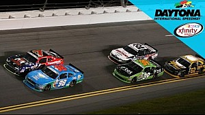 Last-lap wreck draws caution, Almirola takes the win