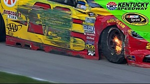 Logano hits the wall, goes to the garage
