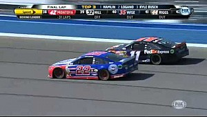 Last lap wreck between Logano and Hamlin at Auto Club 400
