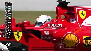 2017 İspanya GP - Vettel Bottas'ı Şaşırtarak Geçiyor