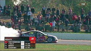 Shane Van Gisbergen's winning burnout in Race 10