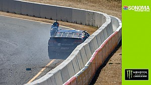 Kahne makes hard contact with the wall on final lap