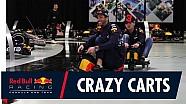Verstappen en Ricciardo karten door de Red Bull fabriek